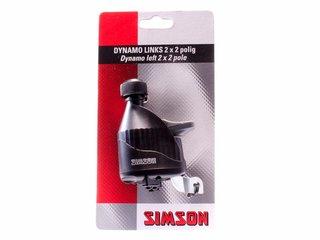 Simson Dynamo links met rubber loopwiel 2x2 polig, zwart